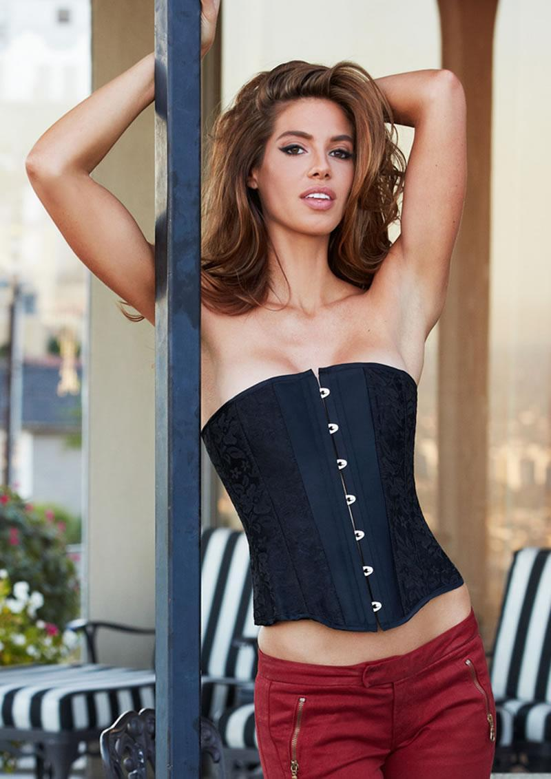 Essential Satin And Lace Corset Blk M